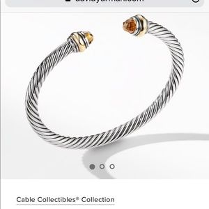 David Yurman Cable Bracelet w/ Citrine & 14K, 5mm